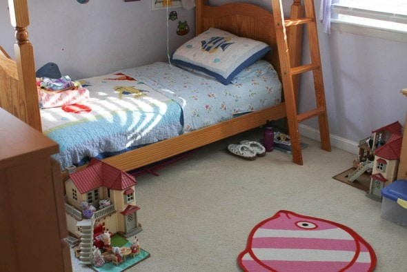 cluttered kids room before and after