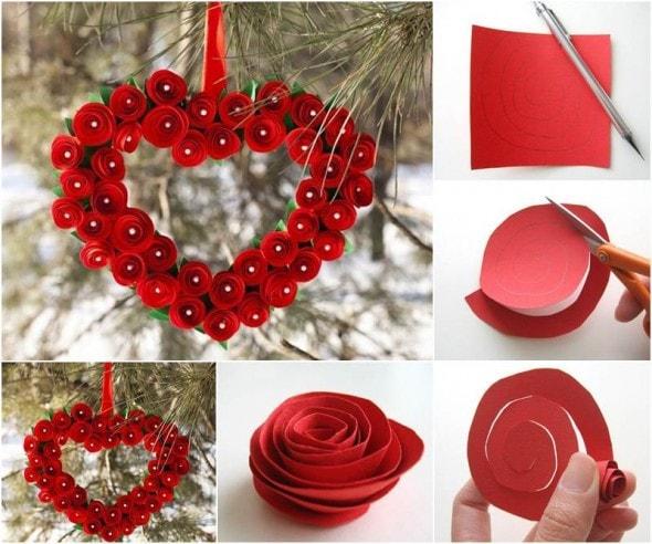 Creative-Ideas-DIY-Heart-Shaped-Paper-Rose-Valentine-Wreath