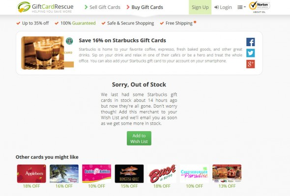 Discounted Starbucks Gift Cards Online – Buy Now!  GiftCardRescue - Mozilla Firefox 3102015 72804 AM