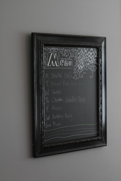 menu board with chalk ink