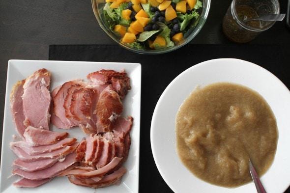 ham, applesauce, and salad
