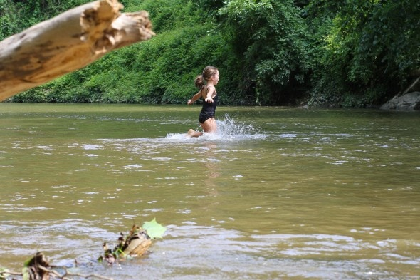 jumping in the river