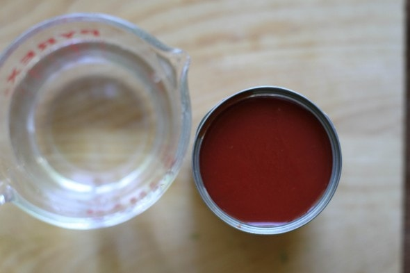 tomato sauce and water