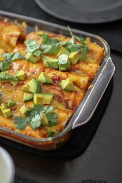 baked chicken enchiladas with red sauce
