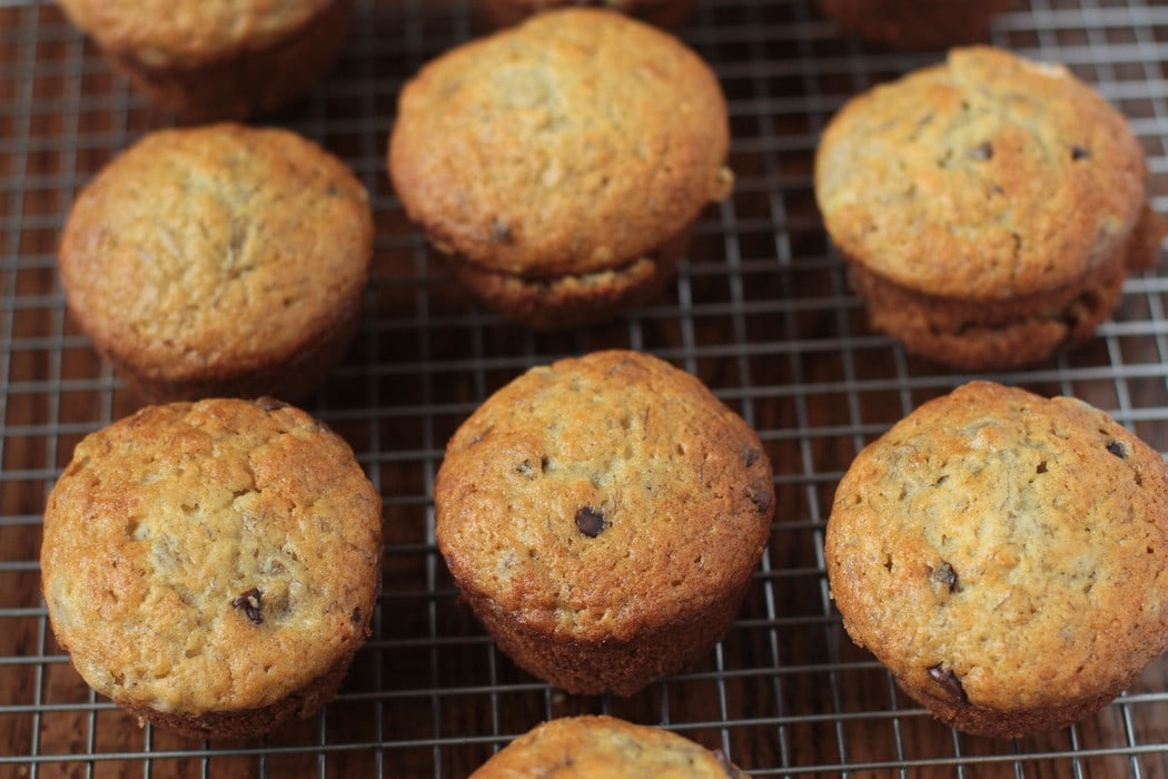 banana chocolate chip muffins cooling on a wire rack