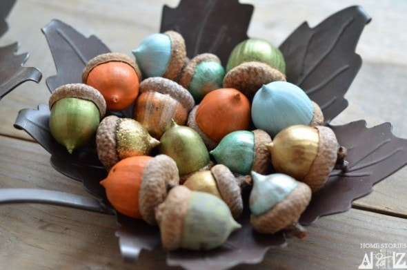 10 Classy Fall Crafts - Sparkly Leaf Garland - Painted Acorn