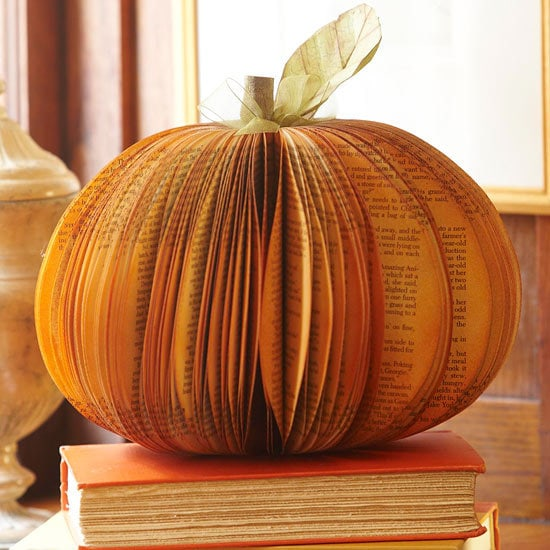 10 Classy Fall Crafts - Sparkly Leaf Garland - Book Pumpkin