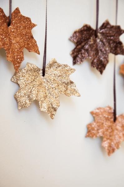 10 Classy Fall Crafts - Sparkly Leaf Garland