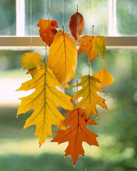 10 Classy Fall Crafts - Sparkly Leaf Garland - Wax Dipped Leaves