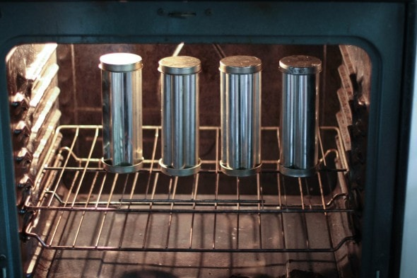 bread tubes in oven