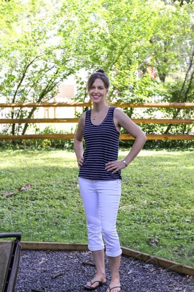 navy striped tank top