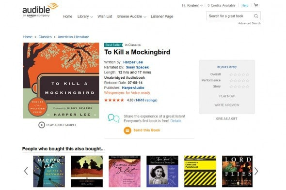 To Kill a Mockingbird Audiobook Harper Lee Audible.com - Mozilla Firefox 8242016 52705 PM