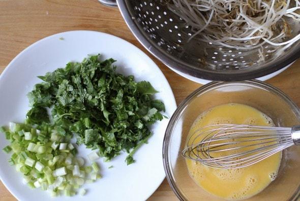 chopped cilantro for homemade Pad Thai