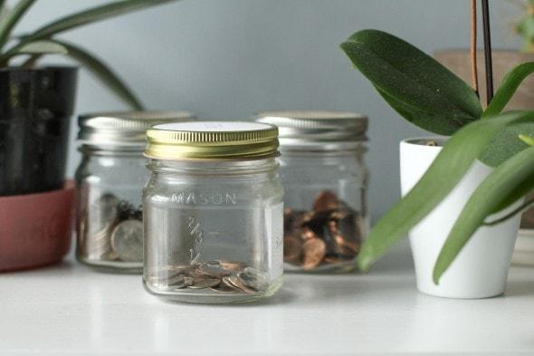Lisey's spare change jars