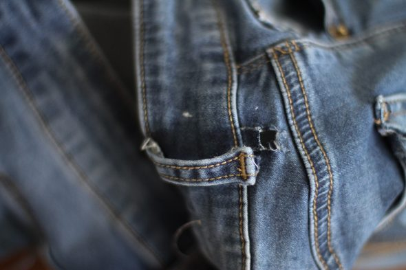 how to fix belt loop hole on jeans
