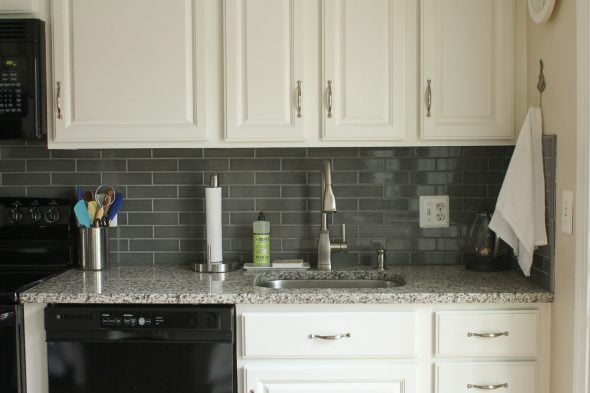 gray ceramic tile backsplash