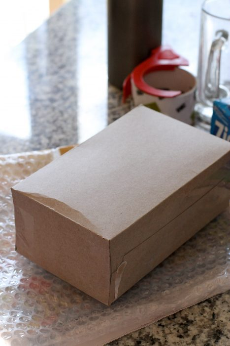 reused cereal box for shipping
