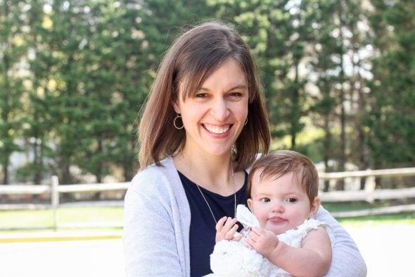 Kristen holding her baby niece