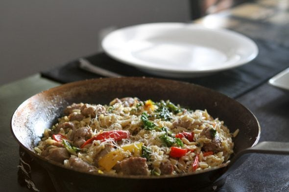 skillet sausage with orzo
