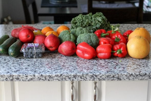 Hungry Harvest produce on a countertop.