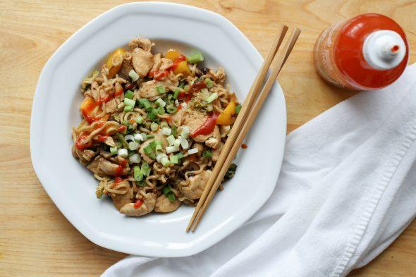 one pan chicken and veggie ramen bowls