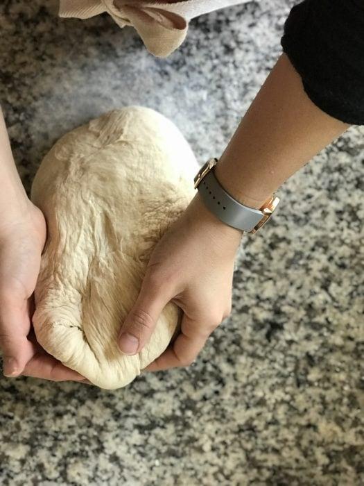 Kristen kneading bread