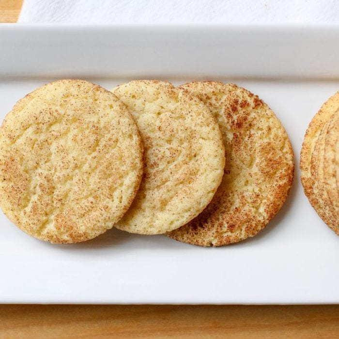 Snickerdoodles on a white plate.