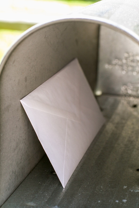 letter in mailbox.