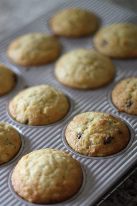 muffins de banana com gotas de chocolate