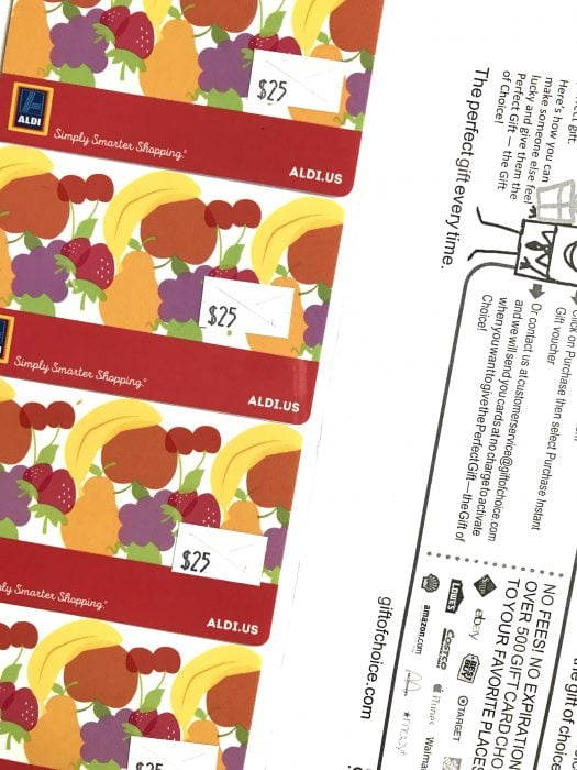 Aldi gift card savings