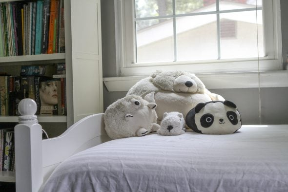 Sonia's white bed