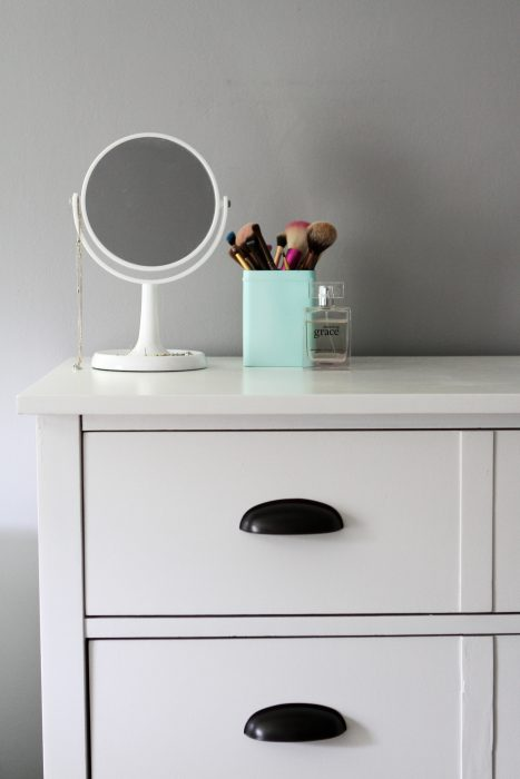 Benjamin Moore Cloud White Advance painted dresser