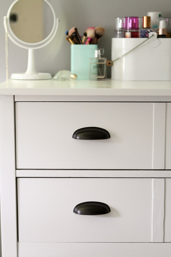 painted white Bassett dresser with cup pulls