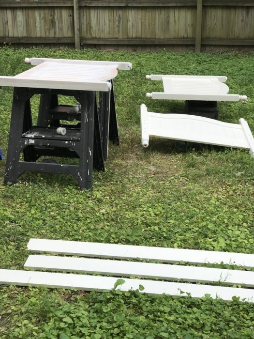 bed frame painting white