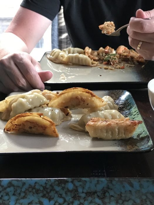 shrimp and potstickers