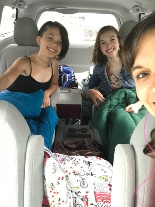 Kristen, Sonia, and Zoe in the van