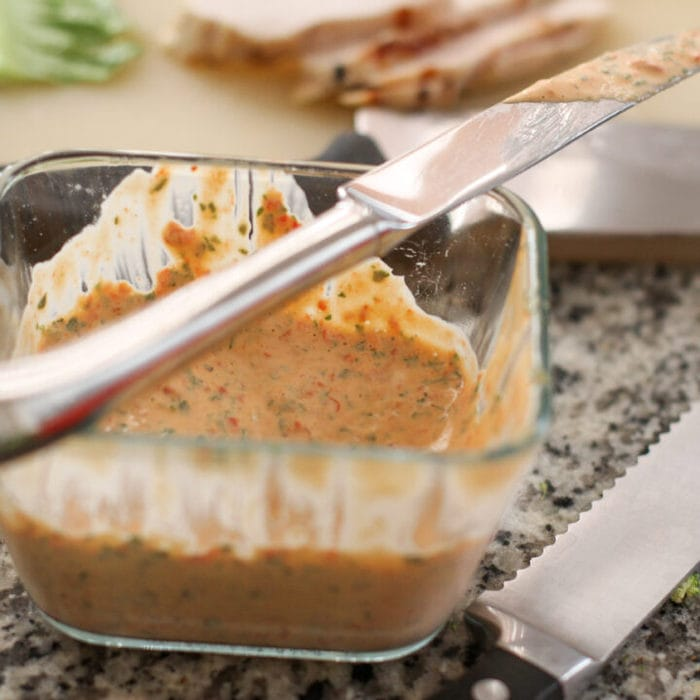 red pepper and basil mayo