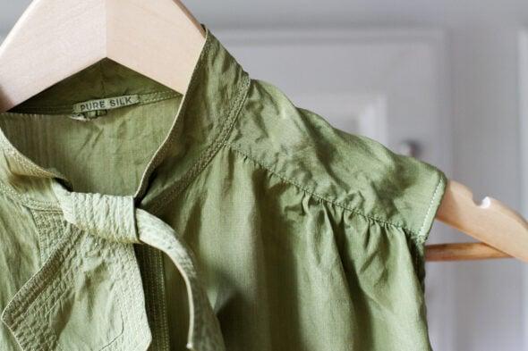 mended vintage silk green shirt