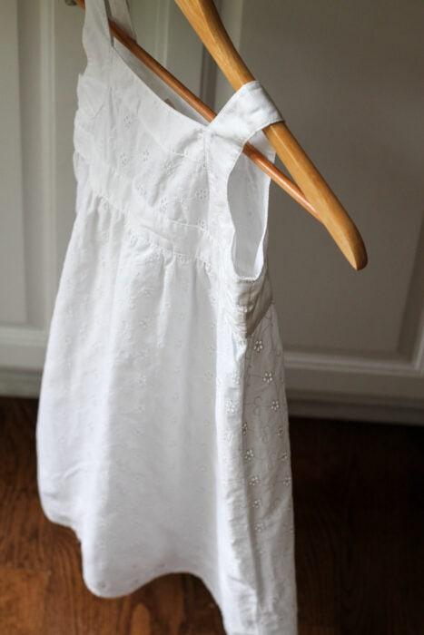 mended white eyelet dress