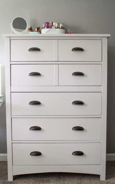 Goodwill dresser painted white