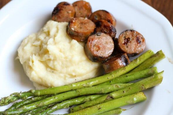 sausage, mashed potatoes, asparagus
