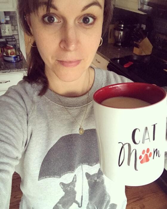 Kristen with cat mom mug