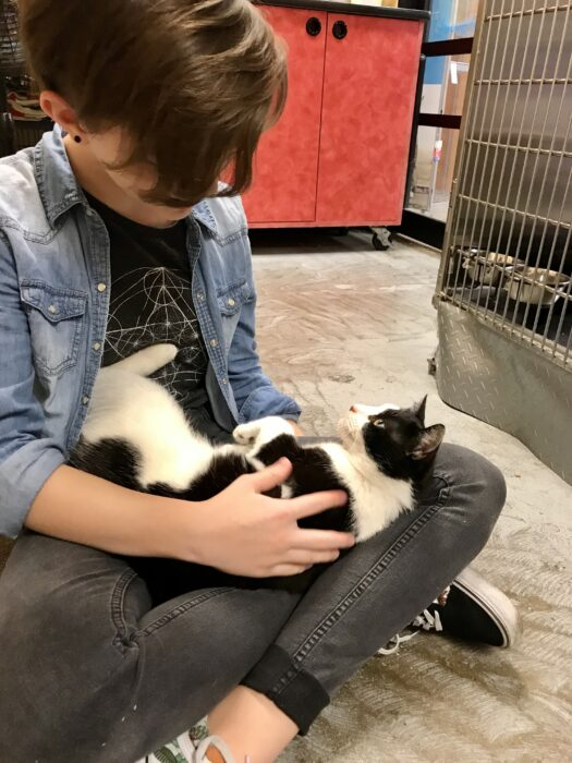 Zoe with rescue cat