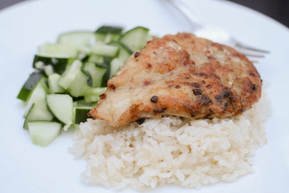 Dinnerly jerk chicken with coconut rice