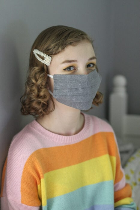 Sonia in gray homemade mask