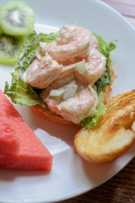 shrimp salad croissant sandwiches.