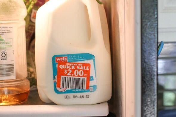 marked-down gallon of milk