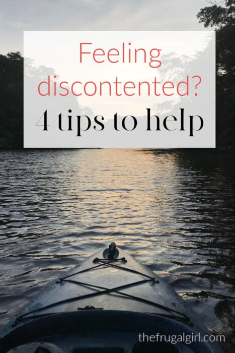 Canoe with text overlay that says 4 ways to feel contented.