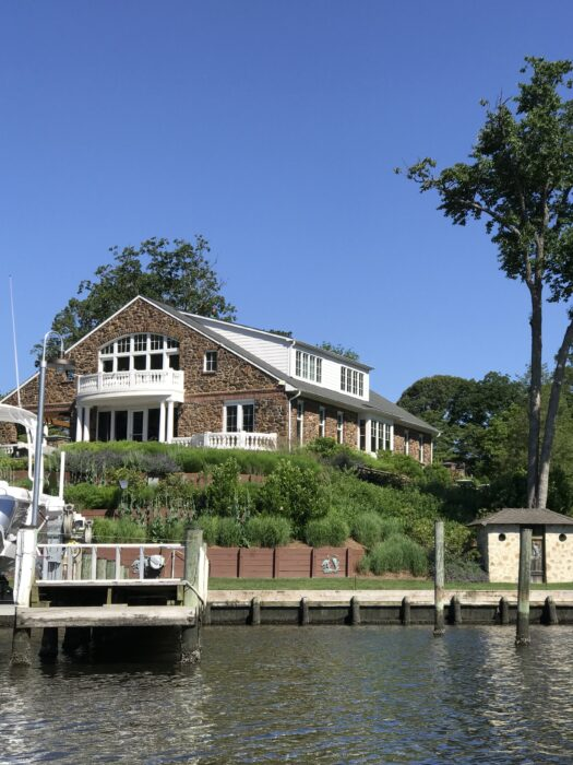 waterfront home on a sunny day.