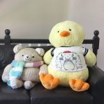 Chick and bear on leather loveseat